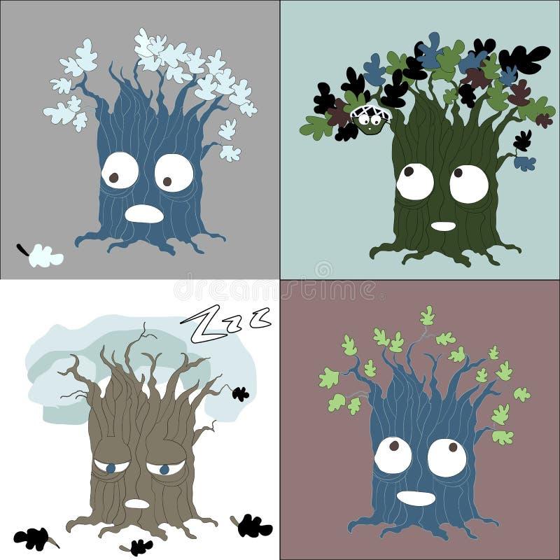季节性树改变传染媒介字符 库存例证