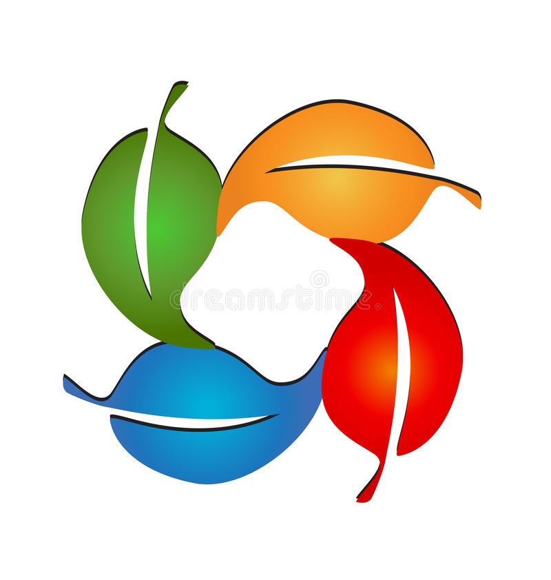 季节性色的叶子商标传染媒介 库存例证