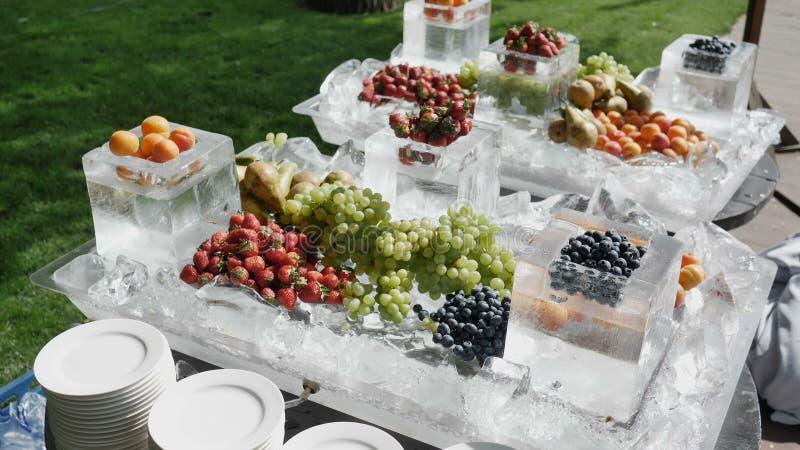 季节性莓果4k慢动作的健康和健康饮食营养的概念 农夫传播采摘 免版税库存照片