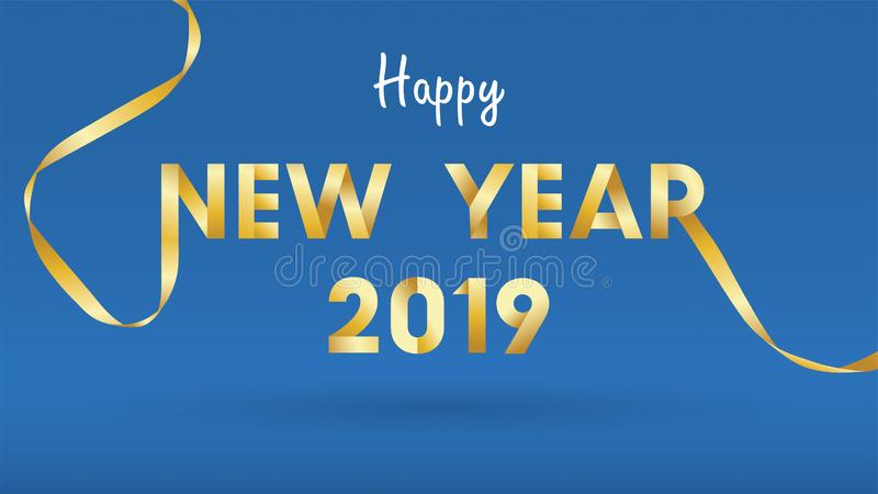 季节性飞行物和贺卡或者邀请背景的2019新年快乐背景与烟花 简单现代和 皇族释放例证