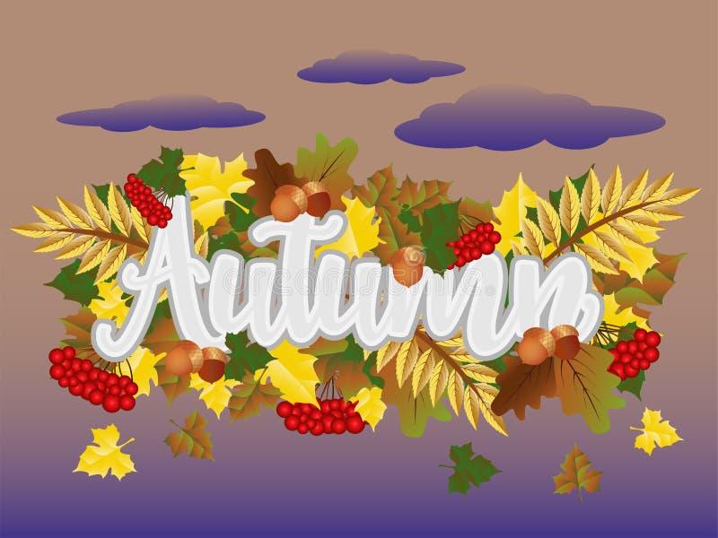 季节秋天时间卡,传染媒介 向量例证