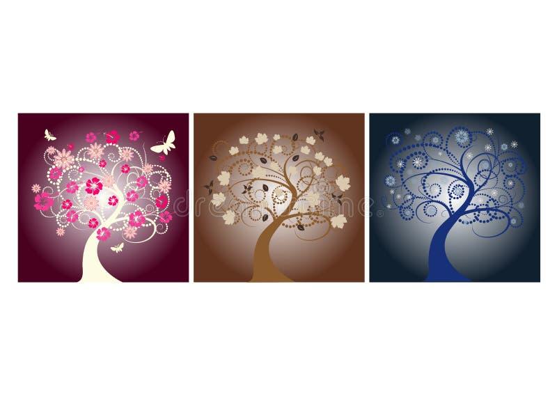 季节结构树 向量例证