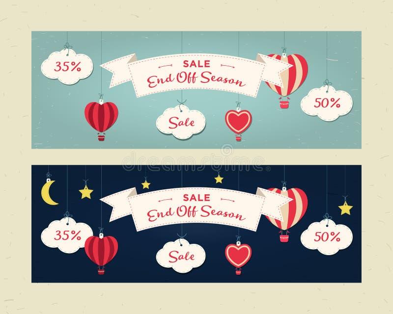 季节销售、网站倒栽跳水或者横幅集合的末端 容易的日编辑晚上导航 云彩,气球,月亮,星,丝带,心脏 库存例证