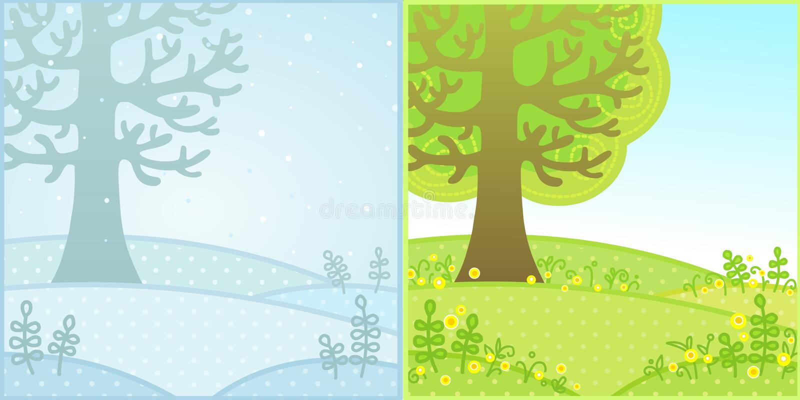 季节:夏天和冬天 向量例证