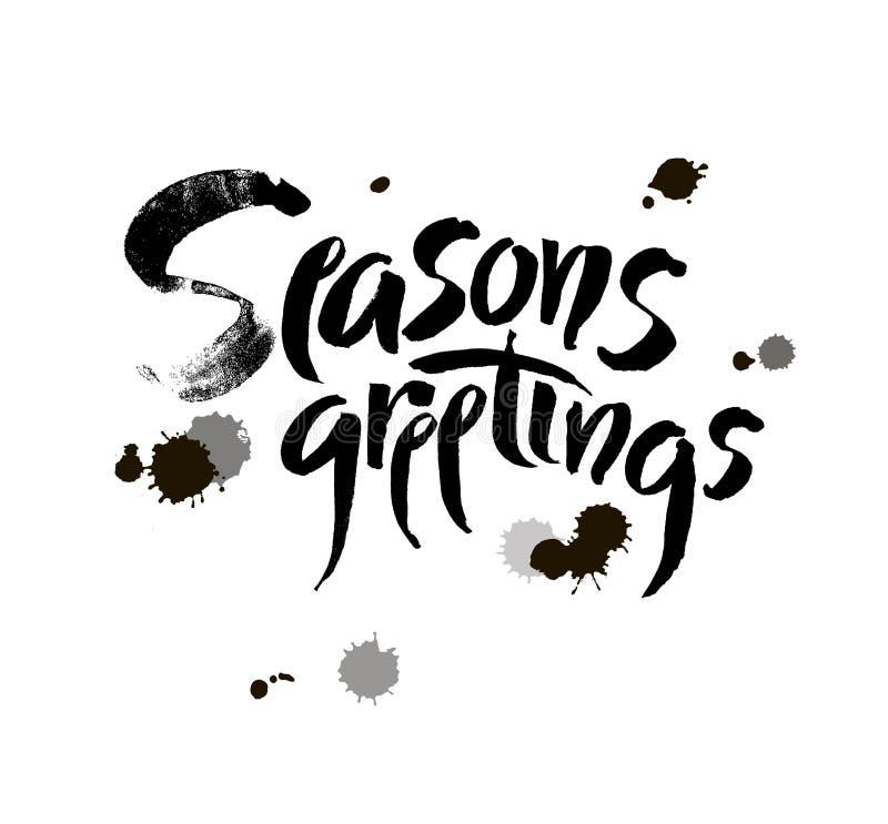 季节s问候 圣诞节书法 手写的现代刷子字法 向量 库存例证