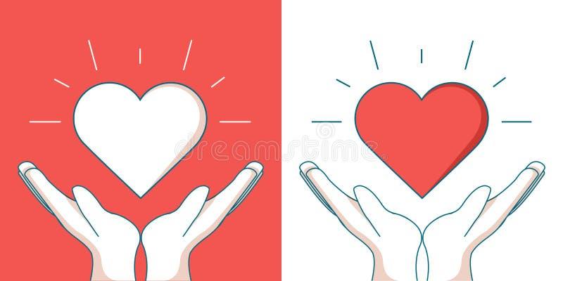 孤儿帮助现代传染媒介个别线路设计象 漂浮在两只手之间的心脏的图象 皇族释放例证