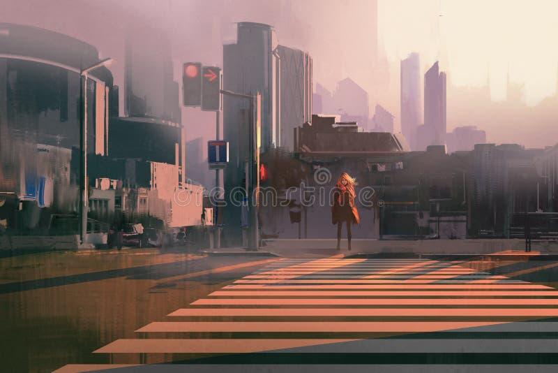 孤独的妇女在冬天城市 向量例证