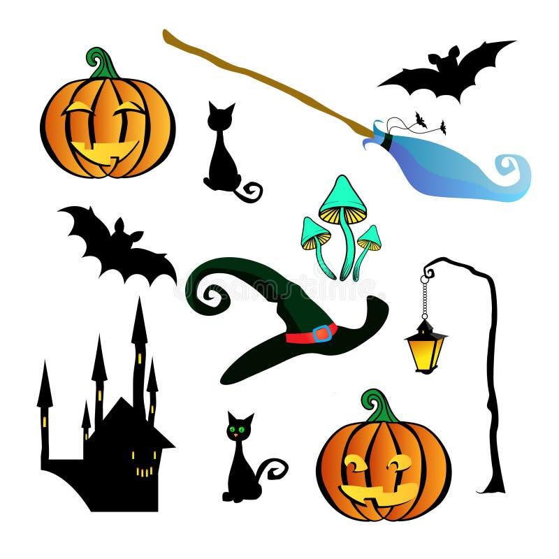 孤立为万圣节 蓝色笤帚巫婆,两恶意嘘声,在一根弯曲的棍子,棒,两个南瓜,一个绿色巫婆帽子的一个灯笼, 库存例证