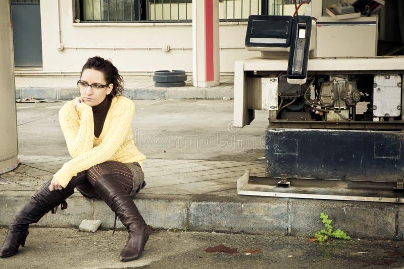 孤立妇女 免版税库存照片