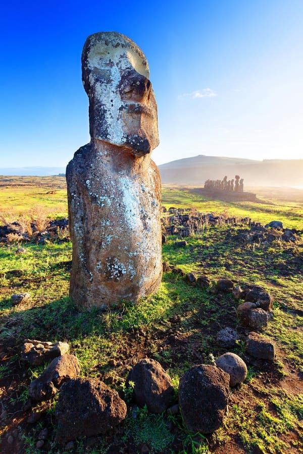孤立常设moai在明媚的阳光下在复活节岛 免版税图库摄影