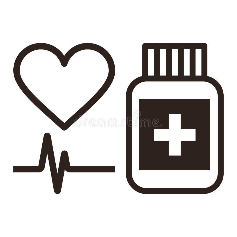 医学、心脏和ecg标志 向量例证