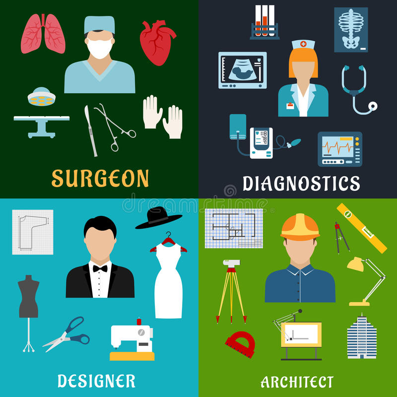 医学、设计和建筑行业 皇族释放例证