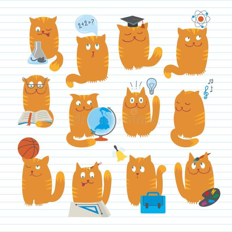 学习主题的猫逗人喜爱的学校 向量例证