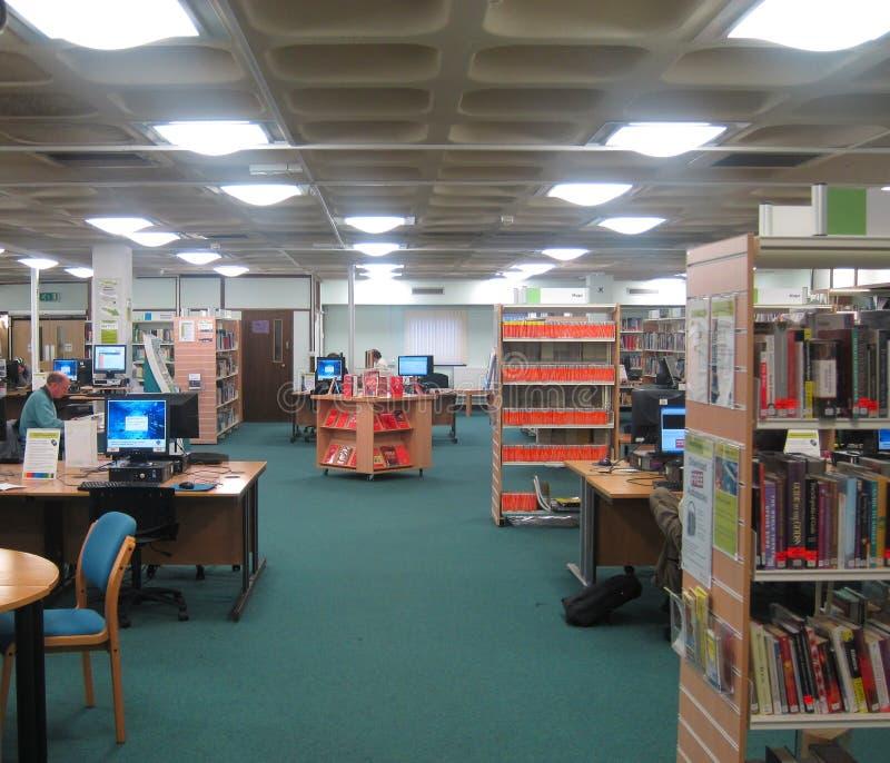 学习区域在一个公立图书馆里。 库存照片