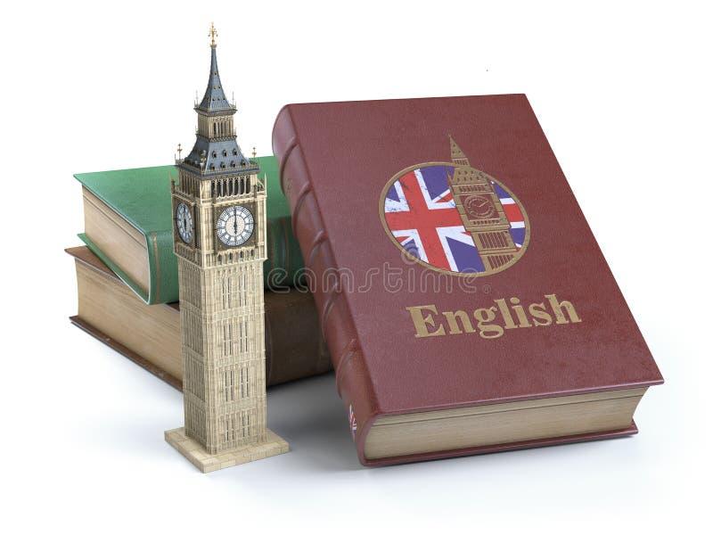 学习和学会英国概念 与了不起的小温旗子的书  库存例证