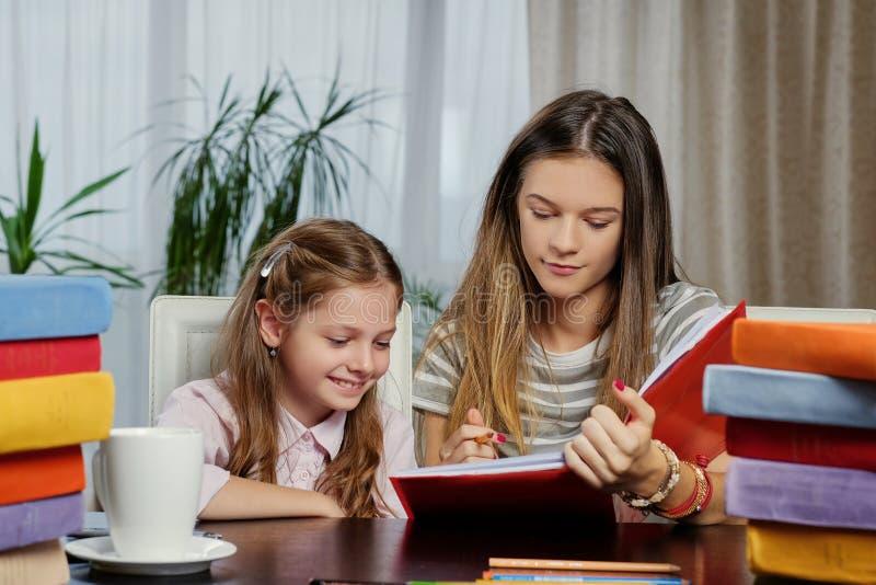 学习在与很多书的桌上的女朋友 免版税图库摄影
