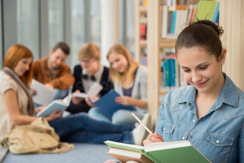 学习在图书馆里的学校学生 库存照片