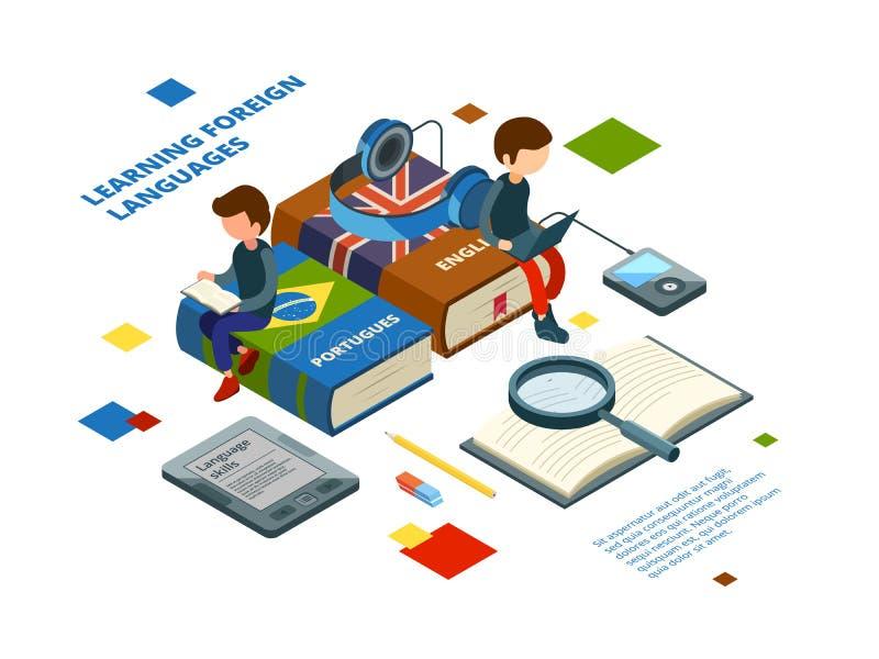 学习外国语 发表演讲关于各种各样的语言在网上学会传染媒介的书词汇量和学生等量 库存例证
