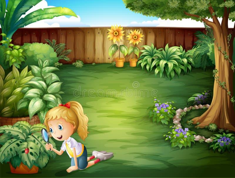 学习植物的女孩在庭院里 向量例证