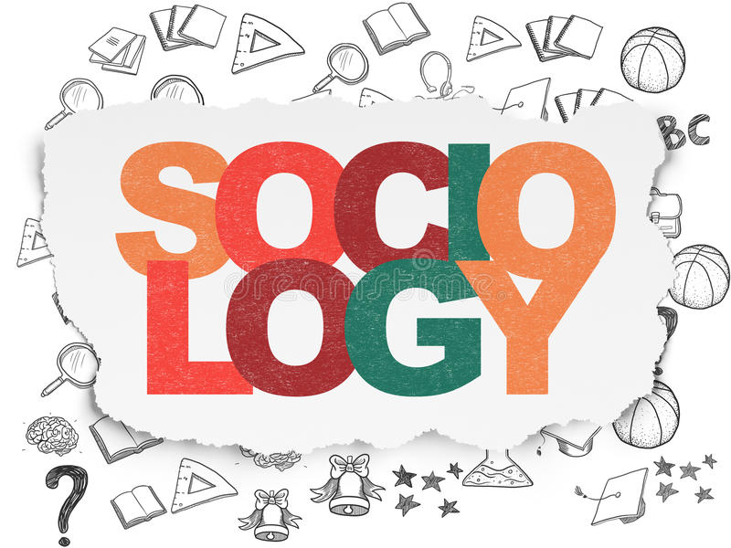 学习概念:在被撕毁的纸背景的社会学 皇族释放例证