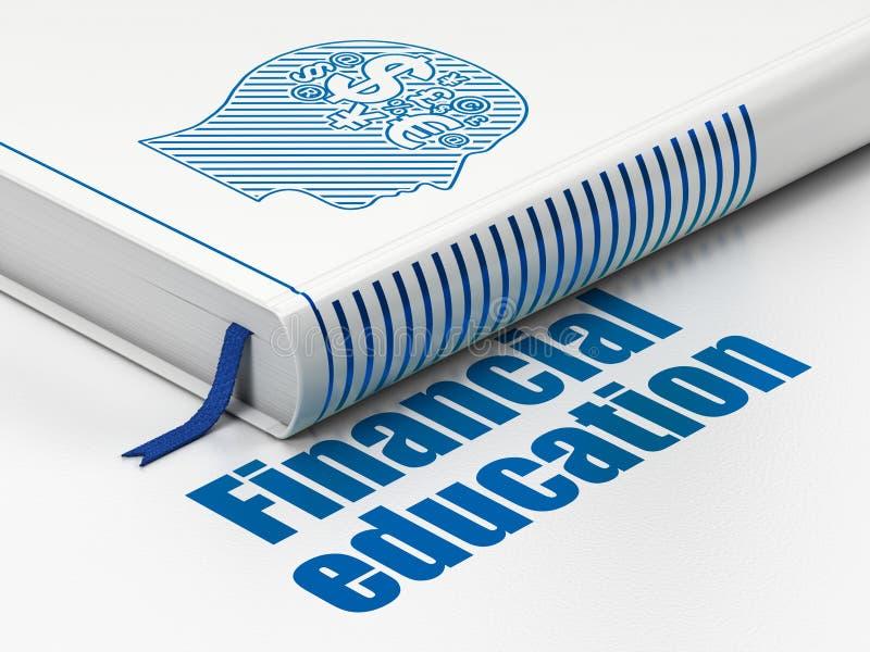 学习概念:预定有财务标志的,在白色背景的财政教育头 库存图片