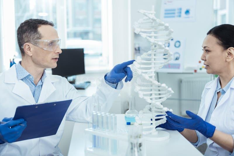 学习生物工艺学的专业研究员在实验室 库存照片