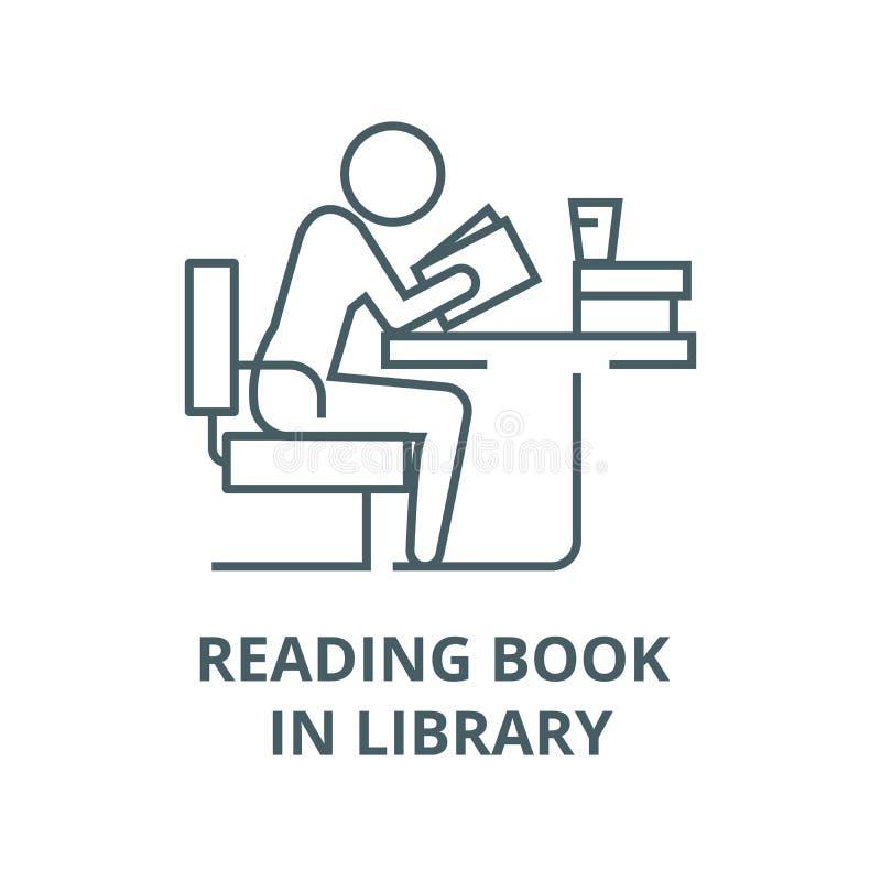 学习的人,在图书馆传染媒介线象,线性概念,概述标志,标志的看书 库存例证