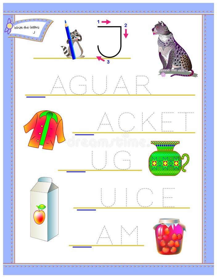 学习英语英语字母表的追踪的信件J 孩子的可印的活页练习题 逻辑难题比赛 幼儿园的教育页 皇族释放例证