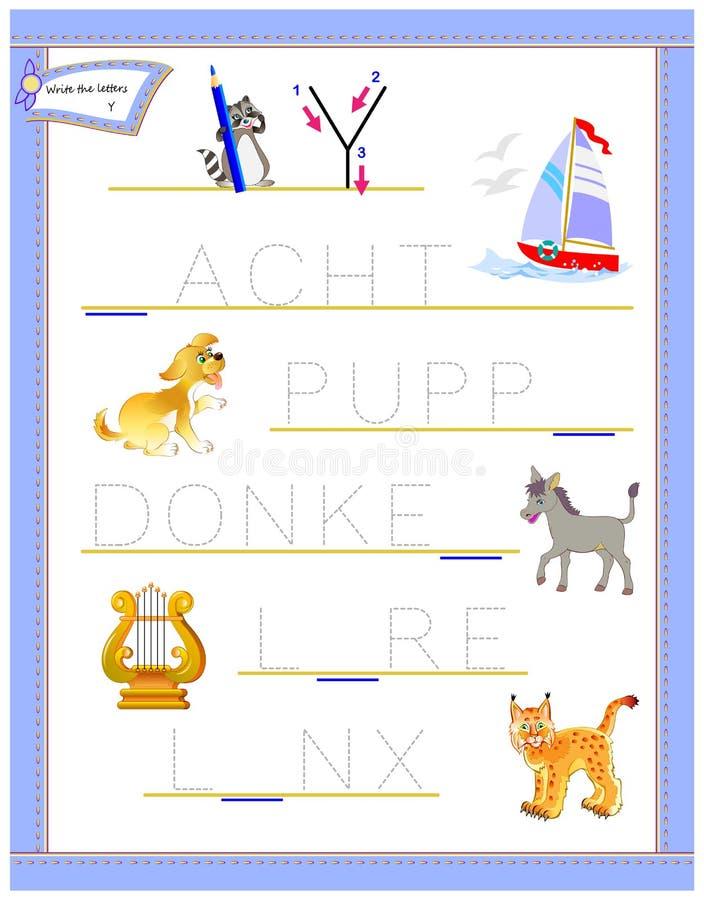 学习英语英语字母表的追踪的信件Y 孩子的可印的活页练习题 逻辑难题比赛 幼儿园的教育页 向量例证