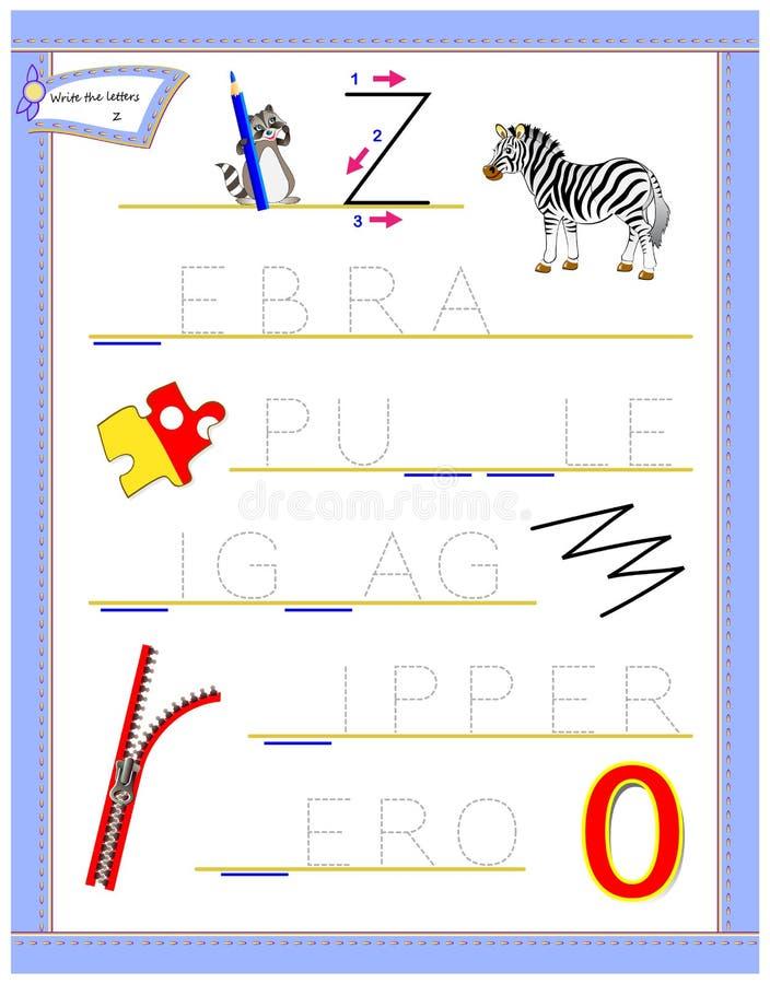 学习英语英语字母表的追踪的信件Z 孩子的可印的活页练习题 逻辑难题比赛 幼儿园的教育页 向量例证
