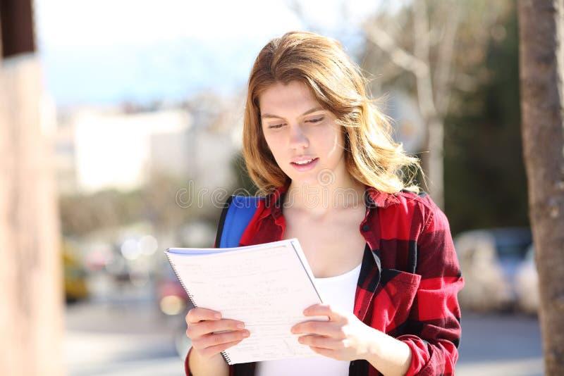 学习走在街道的学生 免版税图库摄影