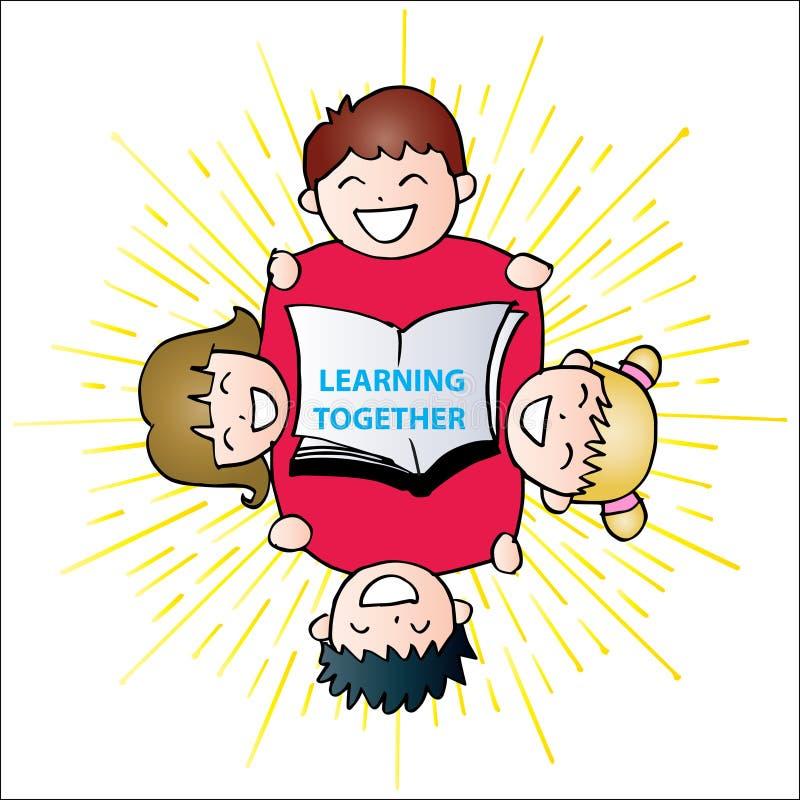 学会一起在上写字与愉快的孩子 向量例证