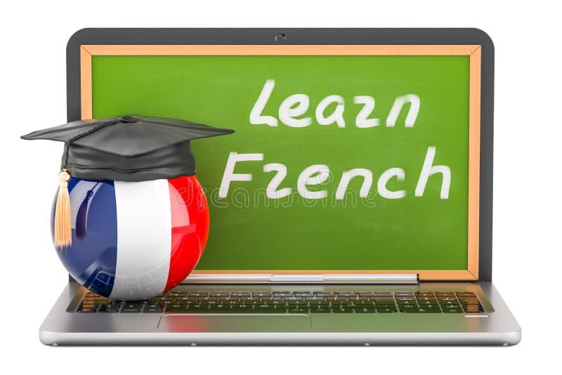 学会与膝上型计算机黑板和毕业盖帽的法国概念, 皇族释放例证
