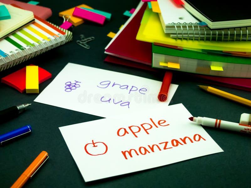 学会做原始的单词的新的语言;西班牙语 免版税库存照片