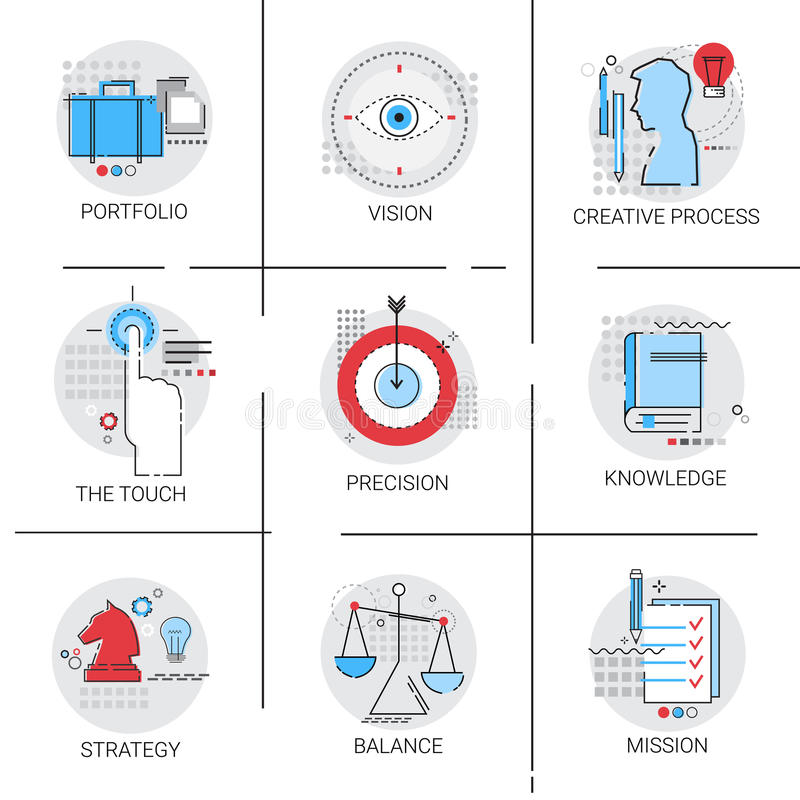 学会创造性的过程,股份单战略使命象集合的知识 库存例证