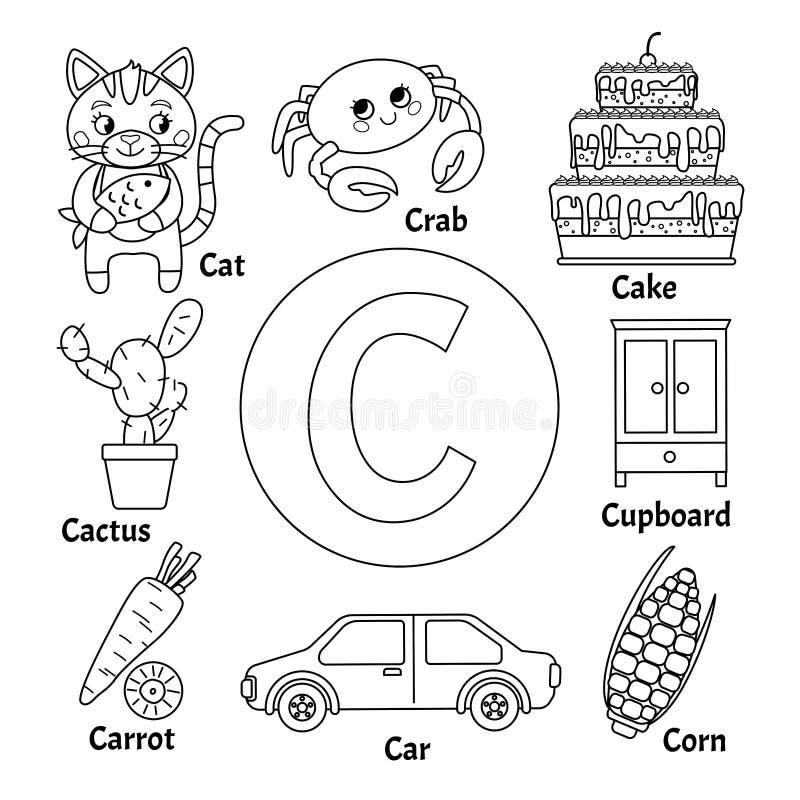 学会卡片字母表 库存例证
