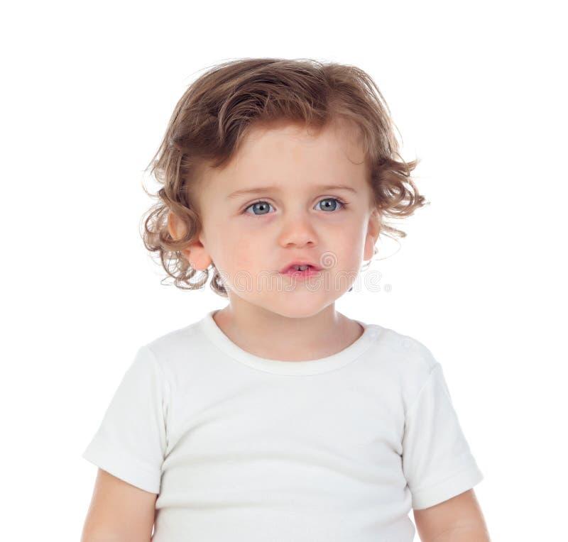学会可爱的婴孩讲话 免版税库存图片