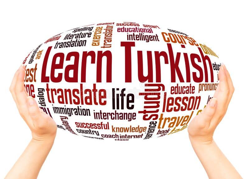 学会土耳其词云彩手球形概念 库存照片