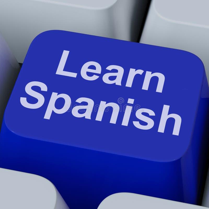 学会在网上学习语言的西班牙关键展示 库存照片