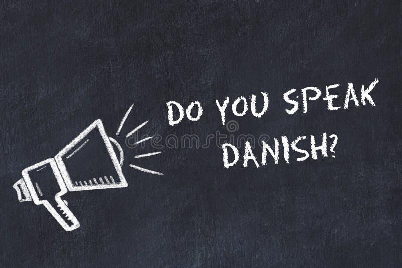 学会外国语概念 用粉笔写扩音器的标志有词组的您讲丹麦语 向量例证