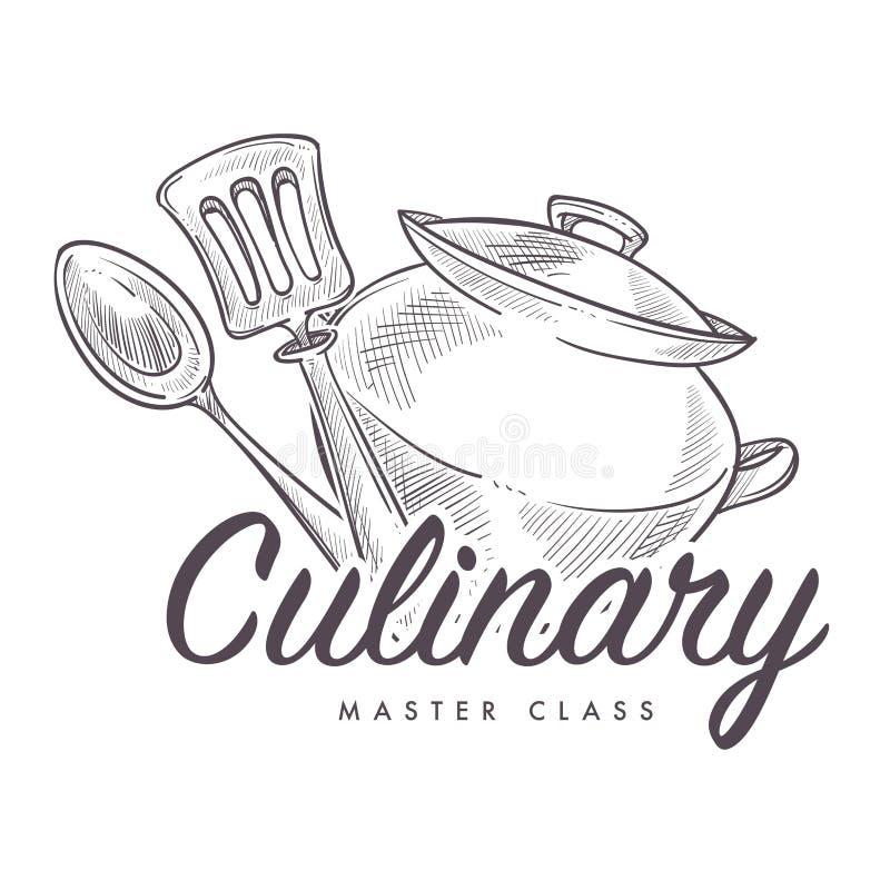 学会如何的烹饪主要类烹调单色剪影概述 库存例证