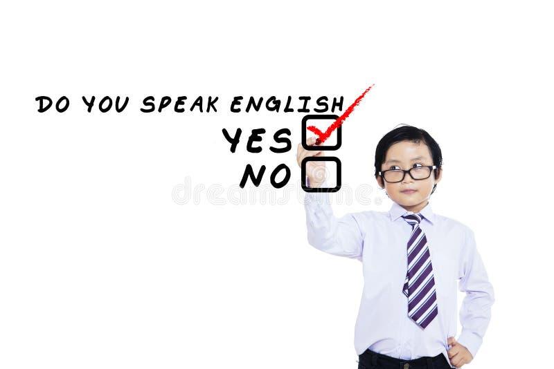 学会孩子1的英语 库存照片