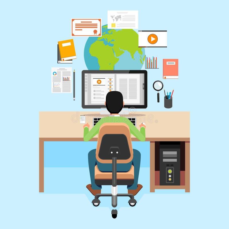 学会或学习在膝上型计算机的学生 了解银的计算机概念e关键膝上型计算机 网横幅、网元素、盖子书或者设计元素的平的设计 皇族释放例证