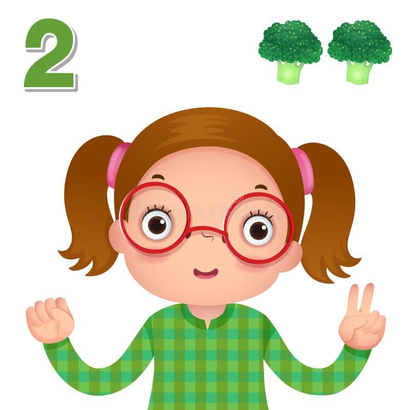 学会数字和计数用显示数字t的kid's手 库存例证