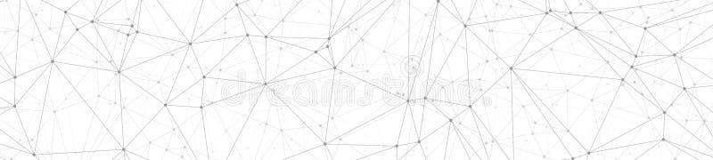 学会概念的数字机,被连接的三角塑造线几何宽横幅传染媒介样式,白色背景 向量例证