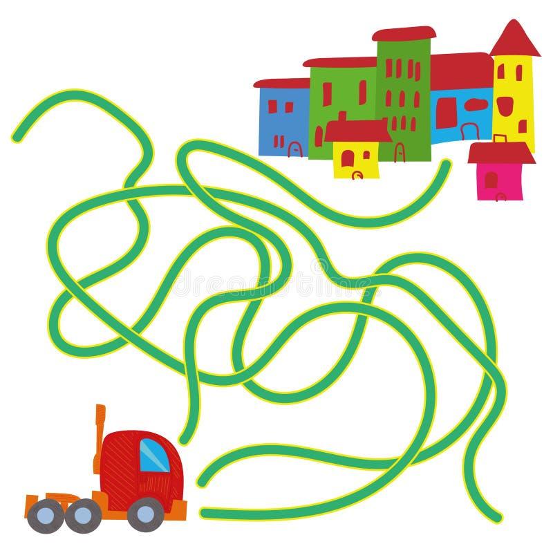 学会比赛汇集的道路或迷宫难题活动比赛孩子的动画片例证 库存例证