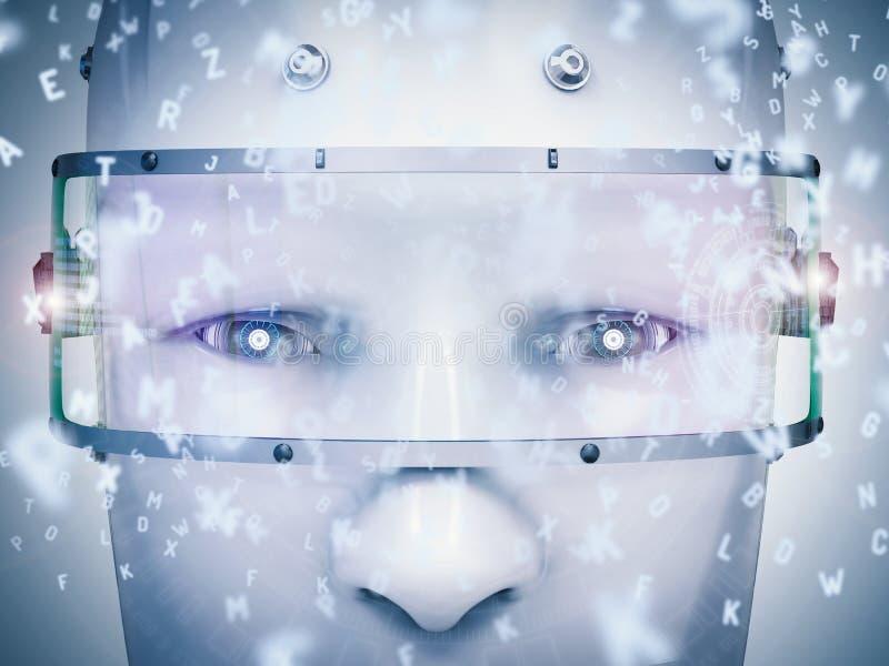 学会的机器人或机器学习 库存例证