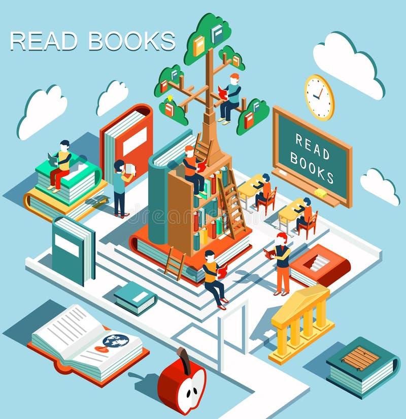 学会的概念,在图书馆,智慧树里读了书,等量平的设计传染媒介 库存例证