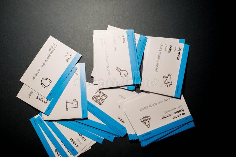 学会的英语卡片 库存照片