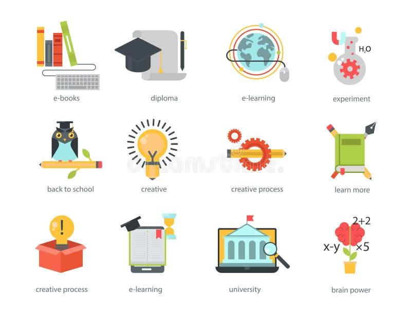 学会研究知识传染媒介的遥远的学习的平的设计网上教育录影讲解人员培训商店 向量例证